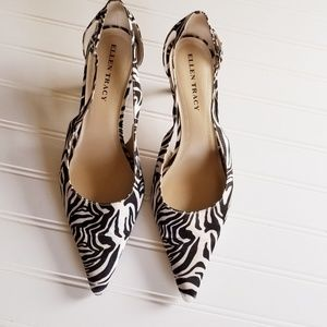 Ellen Tracy Echo Zebra Print Pointed Toe Size 9M